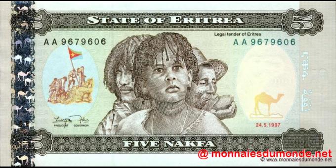 Érythrée - p02 - 5 nakfa - 24.05.1997 - Bank of Eritrea