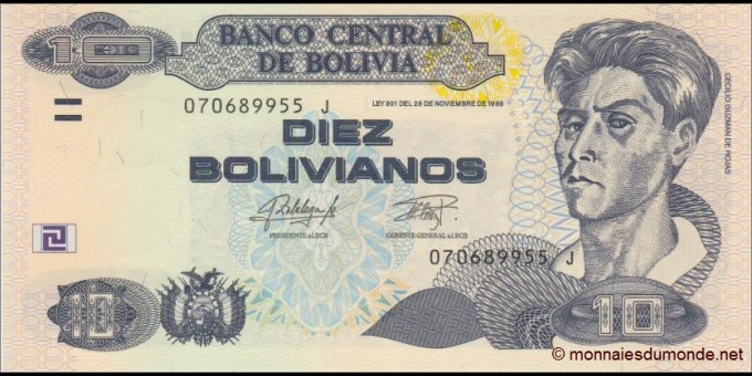 Billet de Bolivie - Pick 243 - 10 bolivianos - 2016