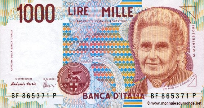 Maria Montessori, 1.000 Lire - 1990 - Banca d'Italia