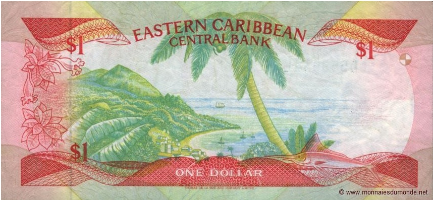 Palmier sur 1 dollar Eastern Caribbean Central Bank